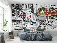 3D British Flag Dog Car Self-adhesive Removeable Wallpaper Wall Mural Sticker 26