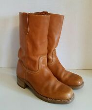 Vintage Landis Tan Camel Leather CAMPUS Boots Motorcycle Biltrite Sq Toe Mens 8