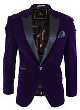 Mens Soft Velvet Violet 1 Button Dinner Jacket Tuxedo Blazer Smart Casual Fit
