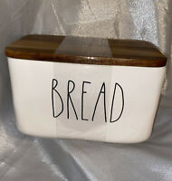 """New RAE DUNN Artisan Collection LL """"BREAD"""" Box Container W/ Wood Lid By Magenta"""