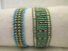 Set Of Two Handmade Tonal Pull Museo Bracelets In Blue/Green Tones By Pink House