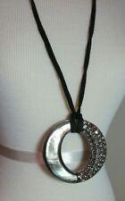 Lia Sophia Kiam Family Abalone Shell & Rhinestone Circle Necklace