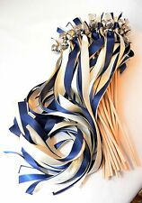 50 Wedding Ribbon Bell Wands ~True Navy and Ivory with Bells ~ Wedding Favors