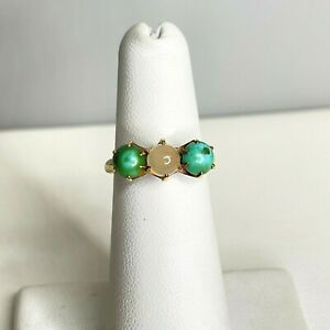 Antique Victorian 14k Yellow Gold Moonstone and Turquoise Ring