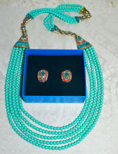 "New $380 HEIDI DAUS ""Deco Master Clasp"" Necklace Bracelet Earrings Set Turquoise"