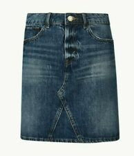 M&s Medium Indigo reine Baumwolle Denim Minirock UK 14/EUR 42