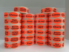 500 Oval Labels .875x1.25 Br/Red DELUXE Food Packaging Retail Stickers 1 Roll