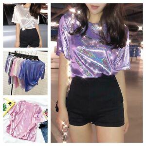 Ladies Short Sleeve T Shirt Summer Blouse Sparkle Glitter Top Harajuku Loose Fit