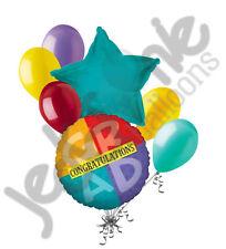 7 pc Four Square Congratulations GRAD Balloon Bouquet Congrats Graduation School