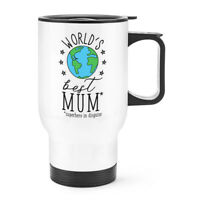 World's Best Mum Travel Mug Cup With Handle - Funny Mother's Day Thermal Flask