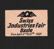 "Opc 1937 Swiss Industries Fair Basle Switzerland 2 3/8"" Mnh"