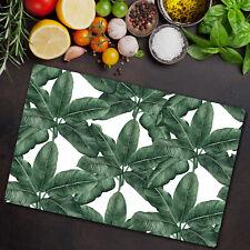 Glass Chopping Cutting Board Banana leaf Floral art leaves Botanical 80x52