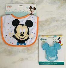NWT Disney Baby Mickey Mouse Bib & Blue water Baby Ice teething Ring 2pc Set