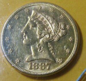1887-S $5 American Gold Liberty Head Half Eagle - Uncirculated+
