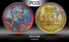 1934 LINCOLN WHEAT CENT PENNY PCGS MS63RB MONSTER COLOR TONED BEAUTIFUL GEM