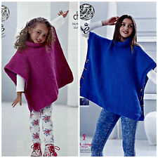 KNITTING PATTERN Girls/Ladies Very Easy Knit Tabbard Poncho Chunky KingCole 4842