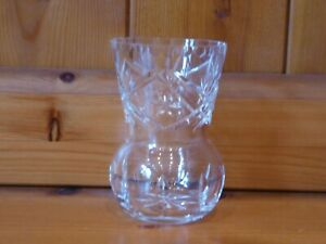 Edinburgh Crystal Whisky Tot Glass Thistle Shaped  Small Vase/Posy Vase Signed