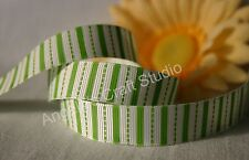 "1 Metre GREEN / WHITE STRIPE 16mm (5/8"") Grosgrain Ribbon - Hair Bow Sew Trim"