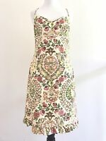 Maggie London Sheath Dress Size 6 Sleeveless Empire Waist Fit Floral Pleated