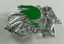 SHINY CHROME PLATED GREEN WINGED DRAGON SOLID BRASS BELT BUCKLE 1982