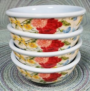 THE PIONEER WOMAN SET OF 4 GLASS SWEET ROSE DIP BOWLS NEW