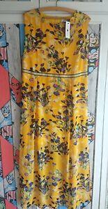 BNWT SIZE 14 MAXI CHIFFON LINED YELLOW FLORAL SLEEVELESS DRESS