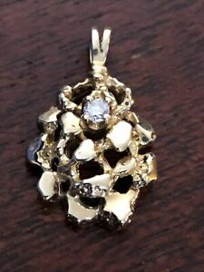 "1"" Nugget Diamond Cut Charm Pendant With Natural Diamond 10K Yellow Gold."