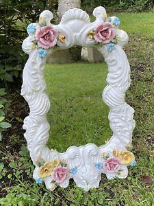 Mirror Capodimonte Italy Vtg Floral candleholder Hanging White Girl Feminine
