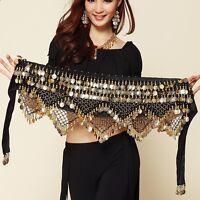 US Belly Dance Costume Velvet Gold Coin Hip Scarf Tribal Triangle Hip Belt Skirt