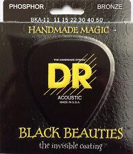 DR BKA-11 Black Beauties Coated Acoustic Guitar Strings gauges 11-50