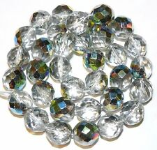"""CZ6130 Crystal Silver Vitrail 12mm Fire-Polished Faceted Round Czech Glass 16"""""""