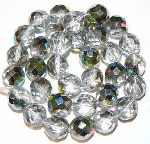 CZ6130 Crystal Silver Vitrail 12mm Fire-Polished Faceted Round Czech Glass 16""