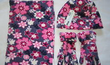 Ragazze Rosa & Viola floreale berretto in pile sciarpa & Guanti Set Age 5-7