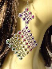 5.5 inch Jeweled CRYSTAL BEAD DANGLE EARRINGS LIGHTWEIGHT MULTI-COLOR EARRINGS