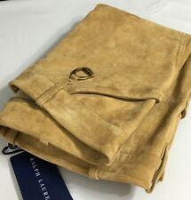 Ralph Lauren Polo Lamb Suede Pants Womens 4 Stirrup Key Chain Brown New