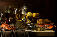 Framed Print - Still Life Food Crab Prawn White Wine Red Wine (Picture Poster)