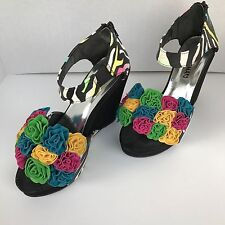 """Hot Tomato Womens Sz 7M Blk Floral Joss Shoes Wedge 4 1/2"""" Heel Zip Back Party"""