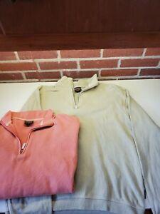 2 Vtg Woolrich Sweaters Size Medium Mens Olive & Salmon 1/4 Zip Fleece Pullover