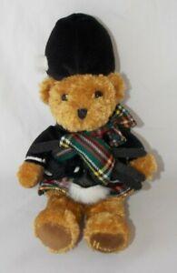 "Harrods Knightsbridge Teddy Bear Plush Scottish Bagpipes Tartan Brown 10"""