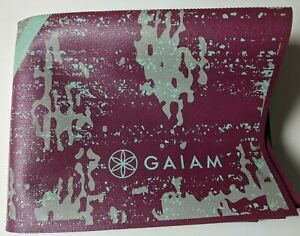 "Gaiam Foldable Yoga Mat Super Compact Ultra-Lightweight Plum / Gry Blue 68""x24"""