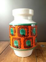 SUPER RETRO DUMLER & BREIDEN MCM VASE WEST GERMAN POTTERY 108/20 ORANGE FAT LAVA