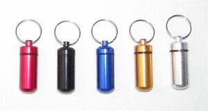 Aluminum PILL BOX Keychain Medicine Container Waterproof Key Chain Ring NEW