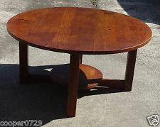 "Genuine Antique L & JG STICKLEY Large Round 36"" Table Quartersawn Oak"