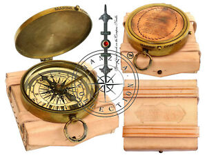 "Vintage Dollond London Poem Engraved Brass Compass 3"" With Leather Pocket Case"