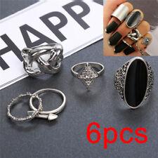 6PCS/Set Silver Bohemian Vintage Women Black Crystal Knuckle Ring Finger Ring EP
