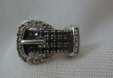 PAJ STERLING SILVER FAUX BUCKLE RING W/ BLUE & WHITE ROUND TOPAZ  - SIZE 5.75
