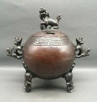 Collect noble palace copper bronze lion kirin Statue lucky Incense burner pot