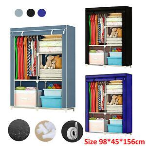 Fabric Canvas Wardrobe w/Hanging Rail Clothes Shelves Storage Organizer Cupboard