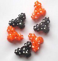 6 MINI PETITES PINCES CRABES BARETTES CHEVEUX NOIRE & ORANGE 3 cm / 2 cm
