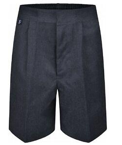 "29""-39"" Waist Boys Sturdy Plus Fit School Shorts Generous Elasticated Black Grey"